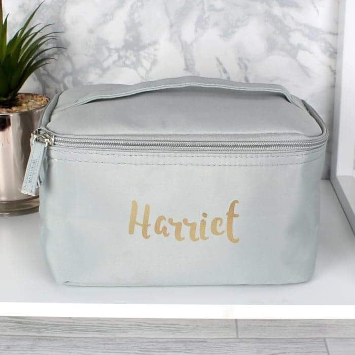 Personalised Gold Name Grey Make Up Wash Bag from Pukkagifts.uk
