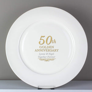 Personalised 50th Golden Anniversary Plate