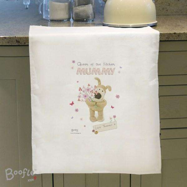 Personalised Boofle Flowers Tea Towel from Pukkagifts.uk