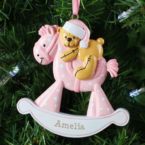 Personalised Pink Rocking Horse Resin Christmas Tree Decoration from Pukkagifts.uk