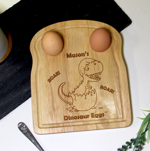 Personalised Dinosaur Egg and Soldiers Board from Pukkagifts.uk