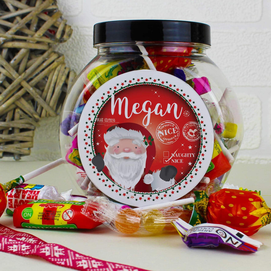 Personalised Santa Nice list Christmas Sweet Jar