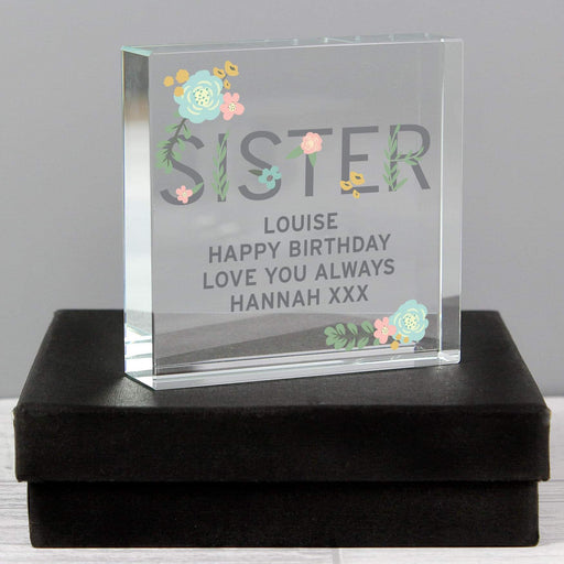 Personalised Floral Sister Large Crystal Token From Pukkagifts.uk
