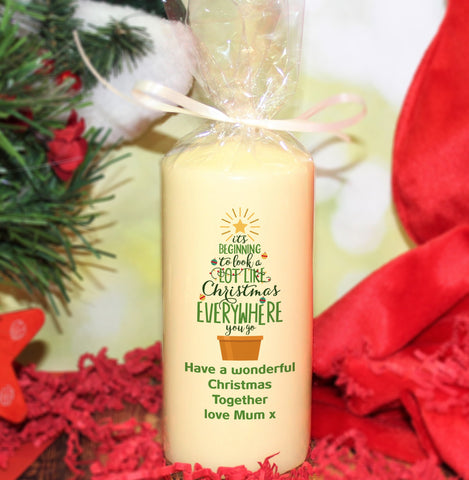 Personalised It's Beginning To Look A Lot Like Christmas Pillar Candle