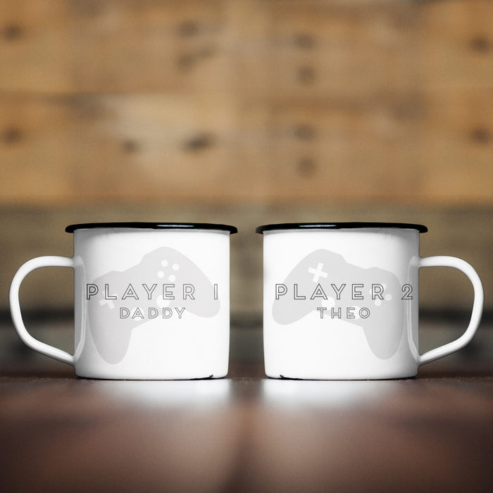 Personalised Player 1 & 2 Game Enamel Mug Set