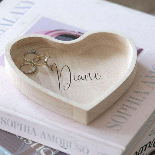 Personalised Script Name Heart Wooden Trinket Dish