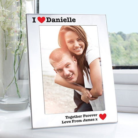 Personalised I Love You Photo Frame Silver 5x7