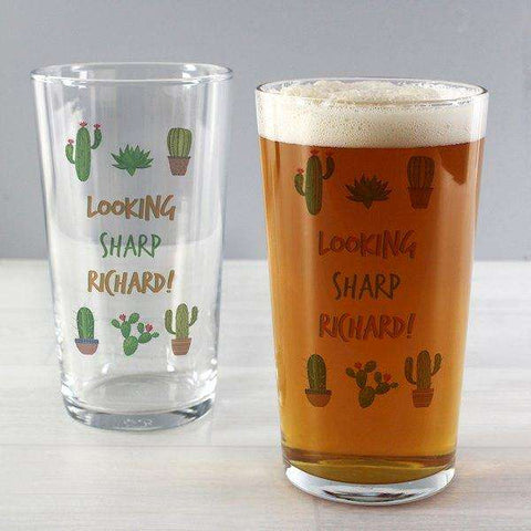 Personalised Cactus Pint Glass from Pukkagifts.uk