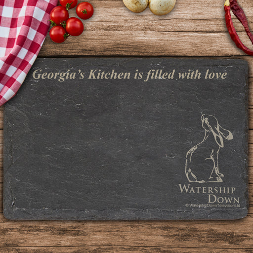 Personalised Watership Down Clover Rectangle Slate Chopping Board