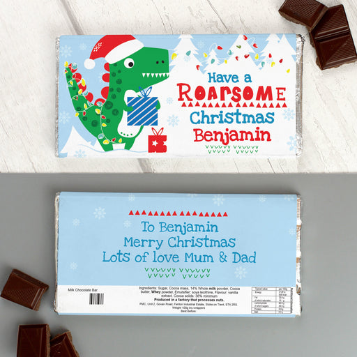 Personalised 'Have a Roarsome Christmas' Milk Chocolate Bar