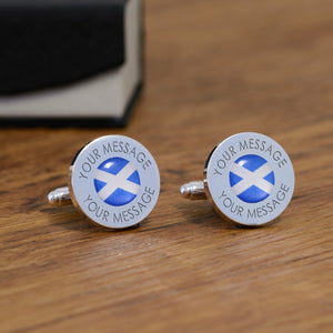 Personalised Scottish Scotland Flag Cufflinks