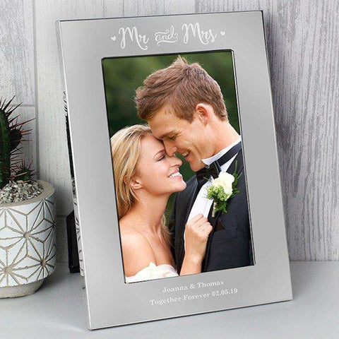 Personalised Mr & Mrs Silver Photo Frame 4x6,Pukka Gifts