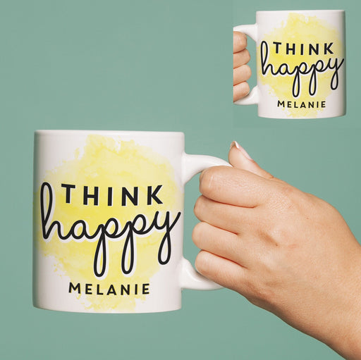 Personalised Think Happy 11oz Mug