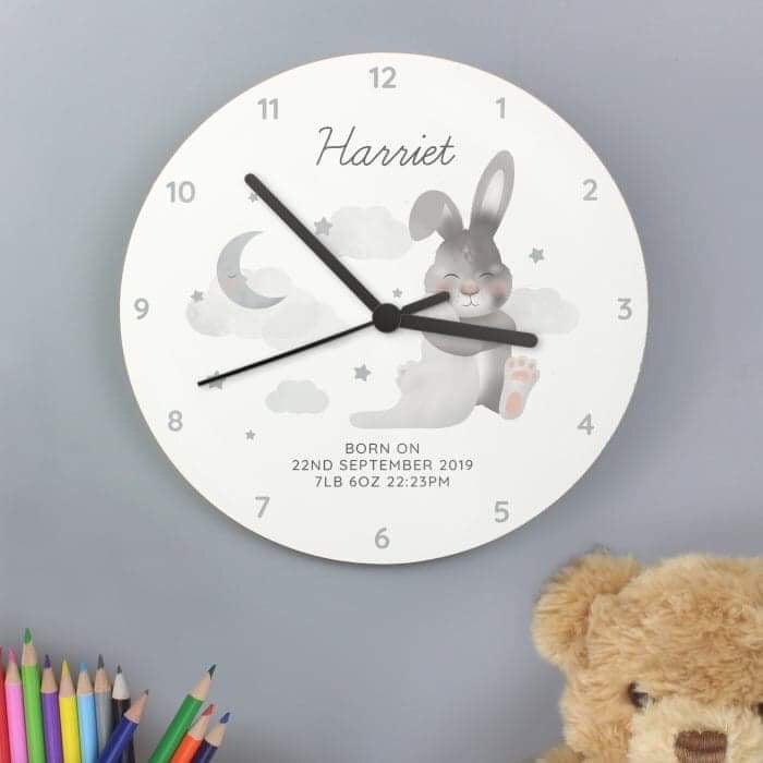 Personalised Baby Bunny White Wooden Clock from Pukkagifts.uk