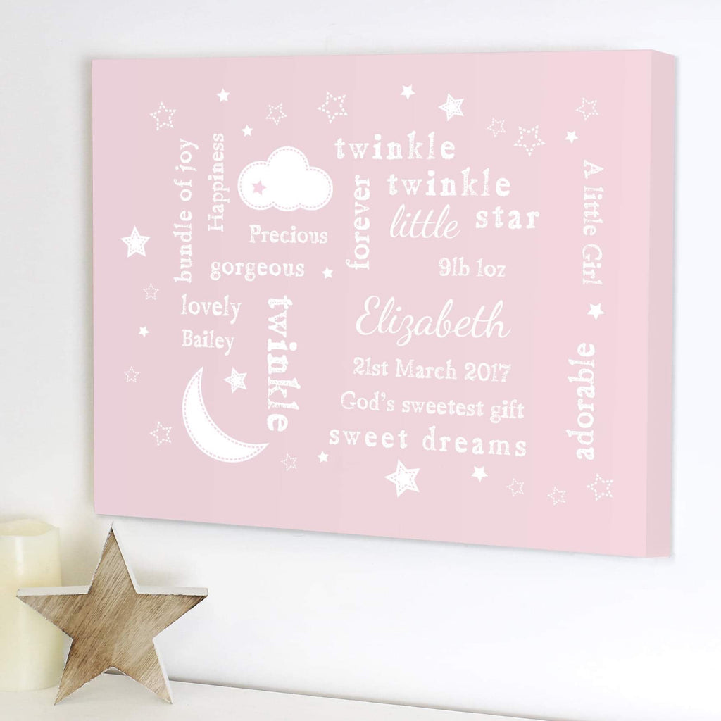 Personalised Twinkle Twinkle Little Star Typography Pink Canvas from Pukkagifts.uk