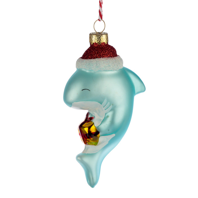 Shark in Santa Hat Glass Christmas Bauble