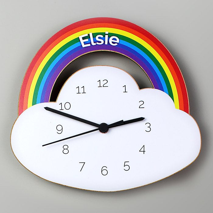 Personalised Rainbow and Cloud Shape Wooden Clock