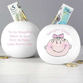 Personalised Baby Girl Money Box from Pukkagifts.uk