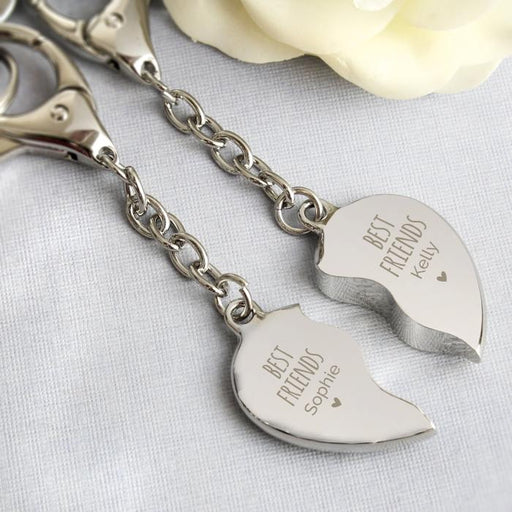 Personalised Best Friends Two Hearts Keyring from Pukkagifts.uk