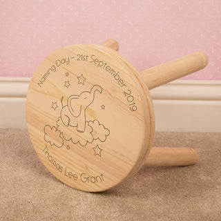 Personalised Children's Laser Engraved Elephant in Clouds Wooden Stool