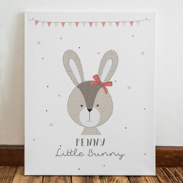 Personalised Little Bunny Pink Canvas from Pukkagifts.uk