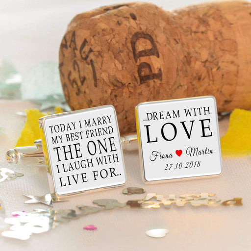 Personalised Today I Marry My Best Friend Wedding Cufflinks from Pukkagifts.uk