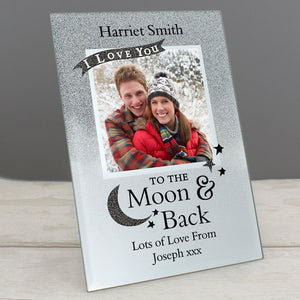 Personalised I Love You To the Moon and Back Glitter Glass Photo Frame 4x4