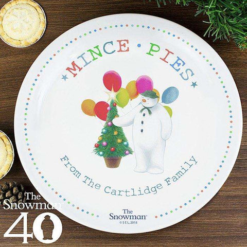 Personalised The Snowman Festive Fun Mince Pie Christmas Eve Plate from Pukkagifts.uk