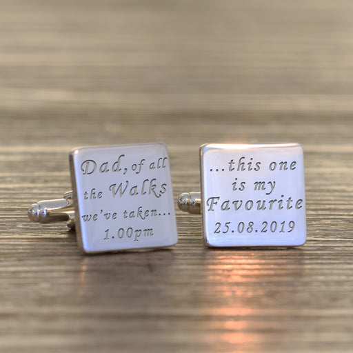 Personalised Dad Of All The Walks We've Taken Square Cufflinks from Pukkagifts.uk