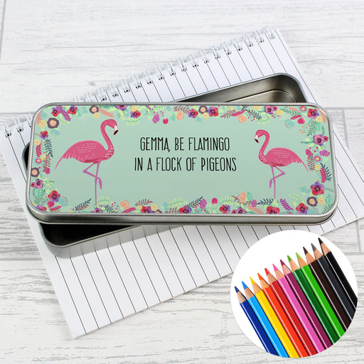 Personalised Flamingo Pencil Tin with Pencil Crayons