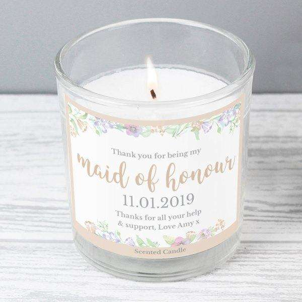Personalised Floral Watercolour Maid of Honour Scented Jar Candle from Pukkagifts.uk