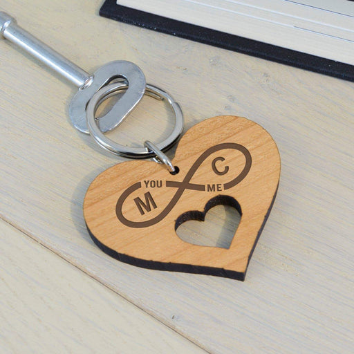 Personalised Infinity Initials Wooden Heart Keyring from Pukkagifts.uk