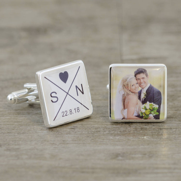 Initials Date & Photo Cufflinks from Pukkagifts.uk