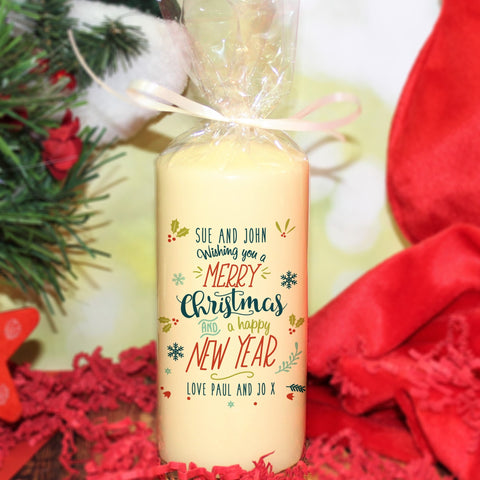 Personalised Wishing You A Merry Christmas and A Happy New Year Candle