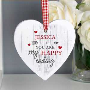 Personalised You Are My Happy Ending Wooden Heart Decoration