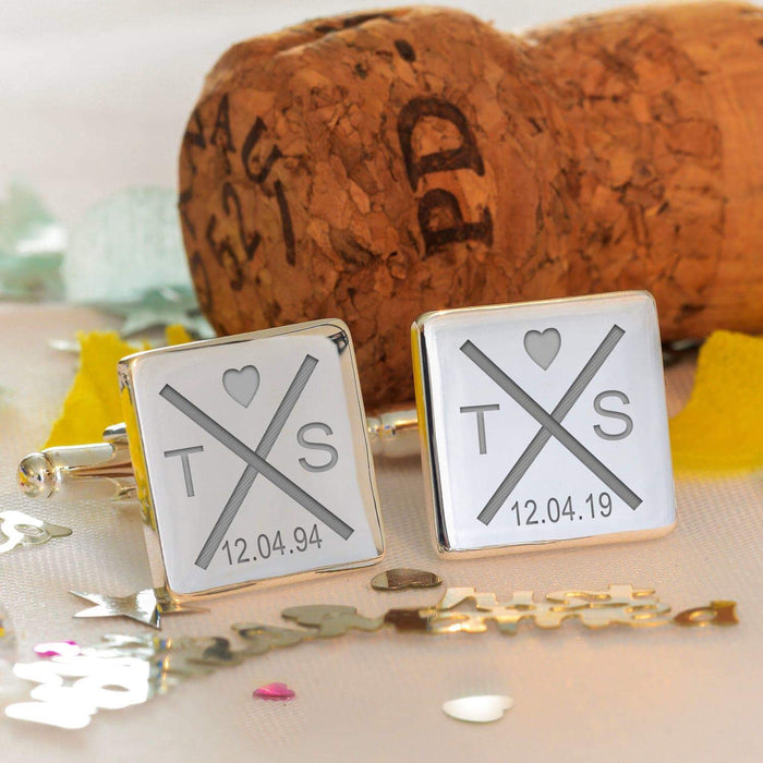 Personalised Initials With Heart Cufflinks from Pukkagifts.uk