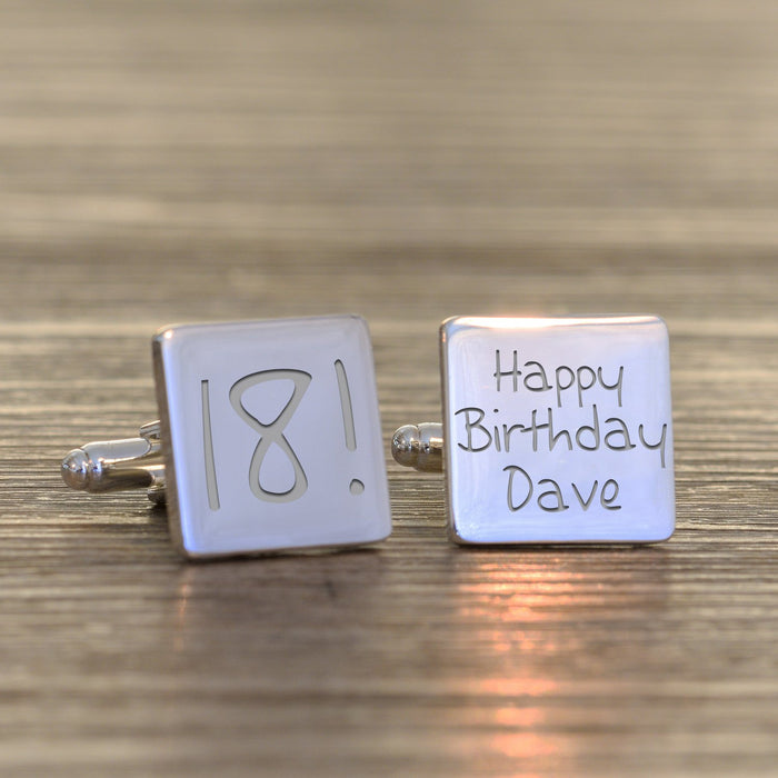 Personalised 18th Birthday Cufflinks