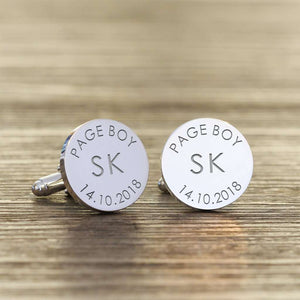 Personalised Page Boy Cufflinks - Initials And Date from Pukkagifts.uk