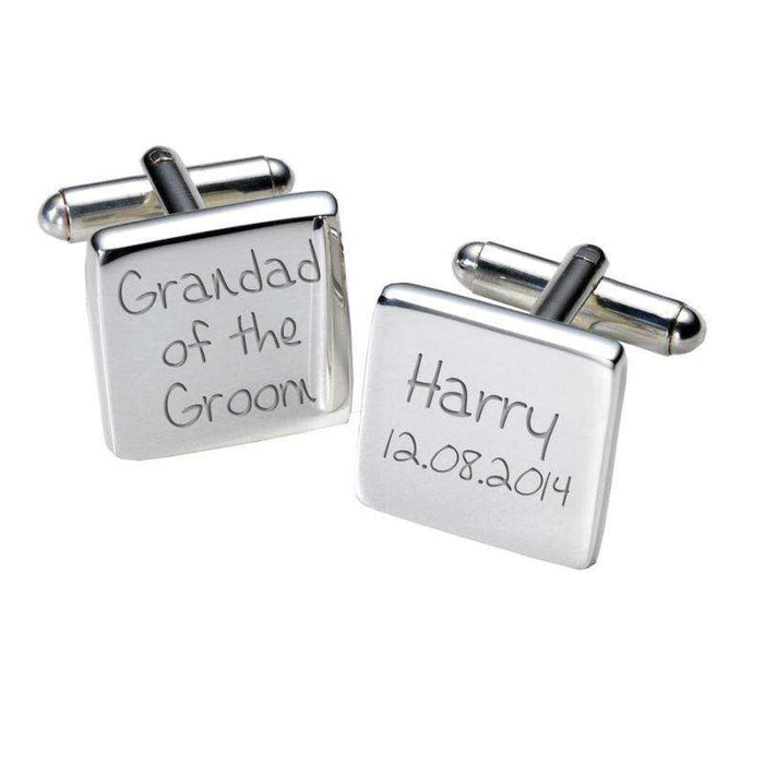 Grandad of the Groom Engraved Cufflinks - Square from Pukkagifts.uk