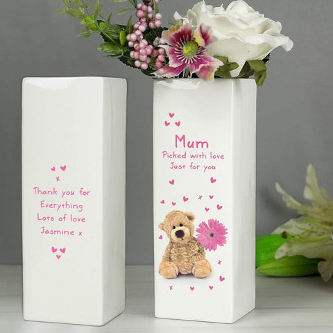 Personalised Teddy Bear Flower White Square Vase