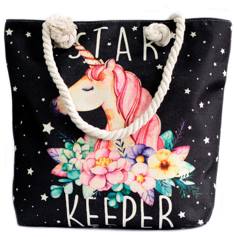Star Unicorn Keeper Rope Handle Beach Tote Bag