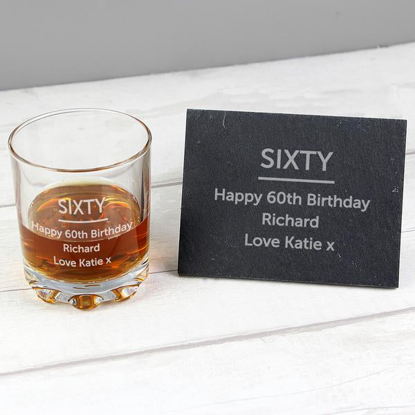 Personalised Whisky Glass Tumbler And Slate Coaster Set from Pukkagifts.uk