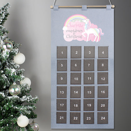 Personalised Christmas Unicorn Pocket Advent Calendar In Silver Grey