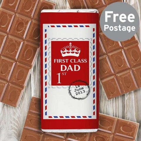 Personalised 1st Class Milk Chocolate Bar Free UK Delivery from Pukkagifts.uk