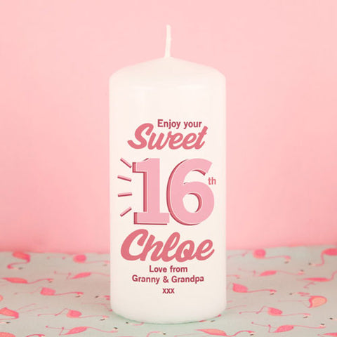 Personalised Sweet Sixteen Birthday Candle from Pukkagifts.uk