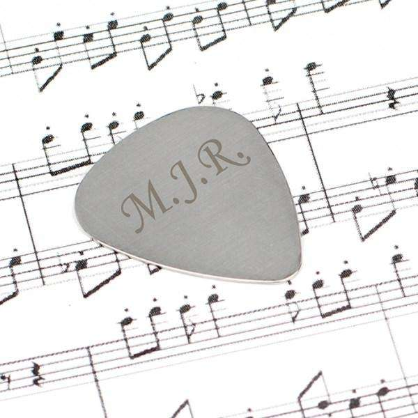 Personalised Initials Silver Plectrum from Pukkagifts.uk