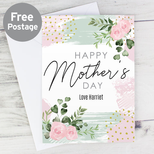Personalised Abstract Rose Happy Mother's Day Card