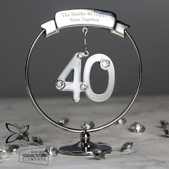 Personalised Crystocraft 40th Anniversary Ornament