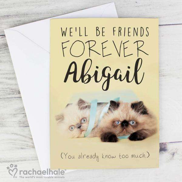Personalised Rachael Hale Friends Forever Cat Card from Pukkagifts.uk