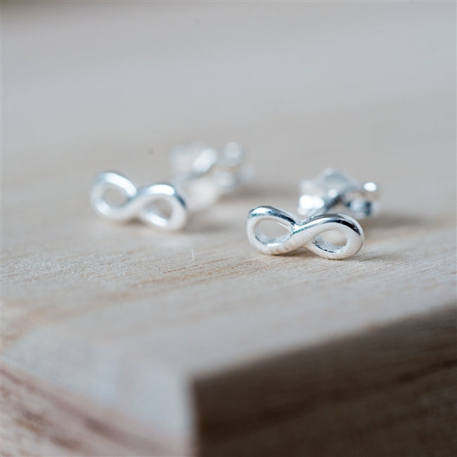 Infinity Stud Earrings With Personalised Gift Box